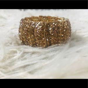 Crystal Gold Cuffed Bracelet